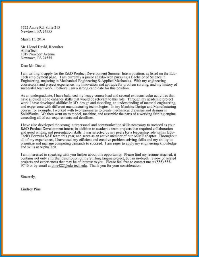 Example of Letter Of Interest For Internship
