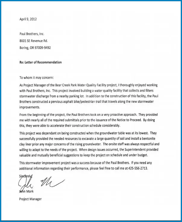 Example of Letter Of Recommendation Work
