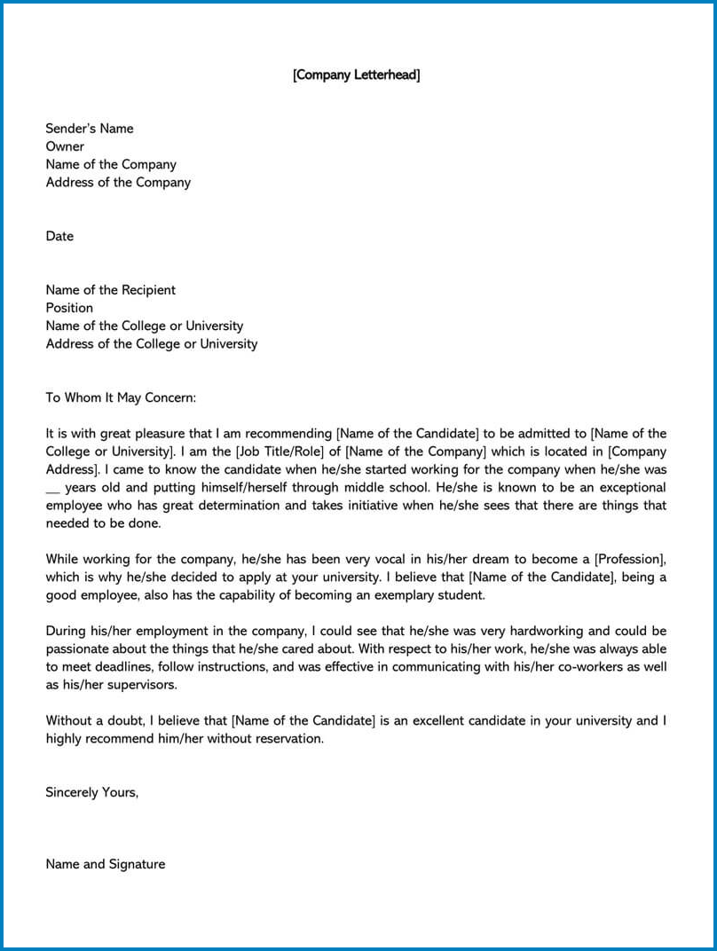 Example of Letterhead For Letter Of Recommendation