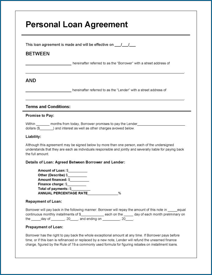 Example of Loan Agreement Template