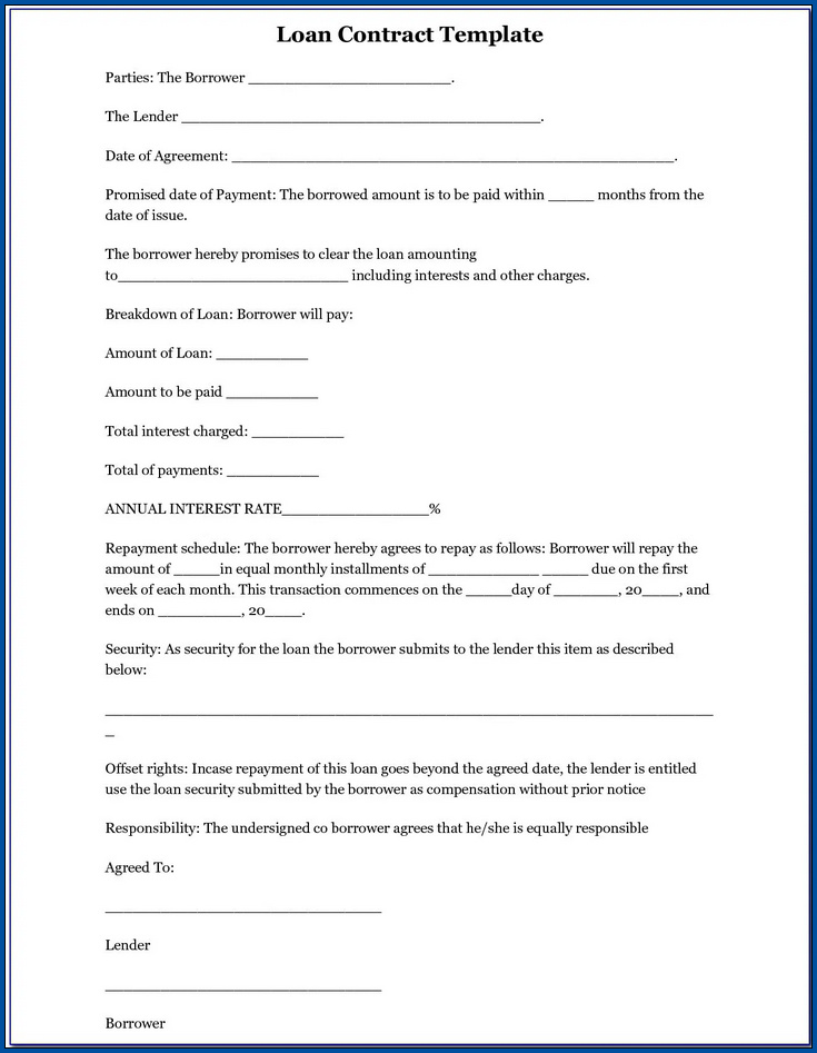 Example of Loan Contract Agreement Template