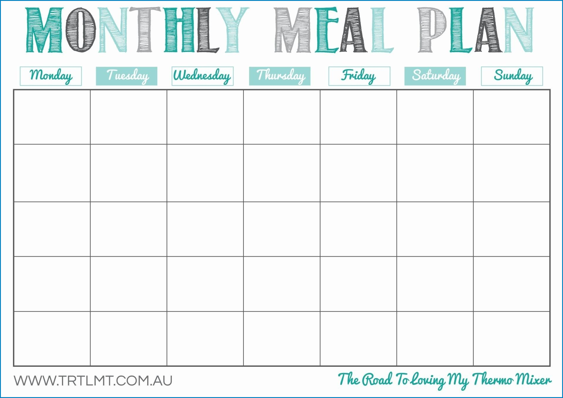 Example of Meal Plan Template