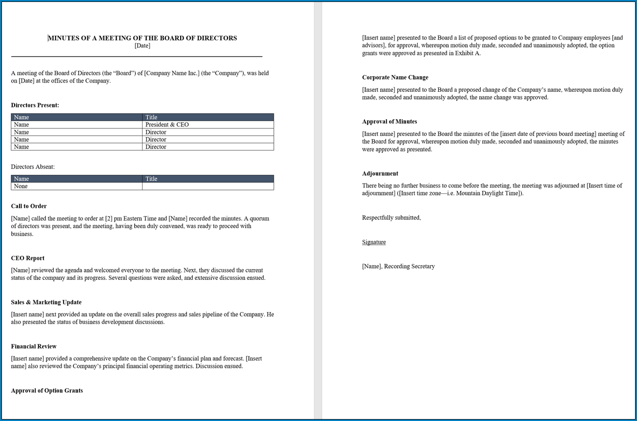 Example of Meeting Minutes Template