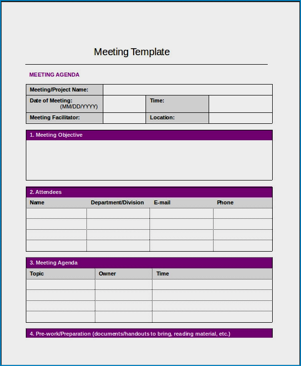 Example of Meeting Notes Template