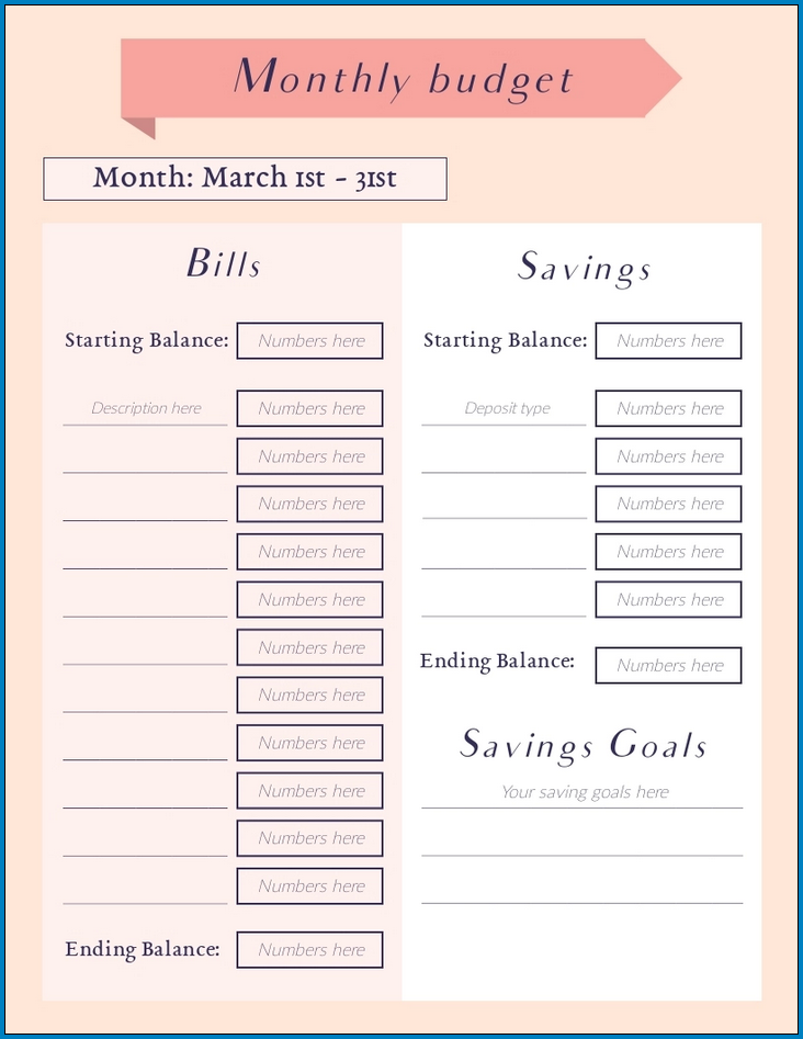 Example of Monthly Budget Planner Template