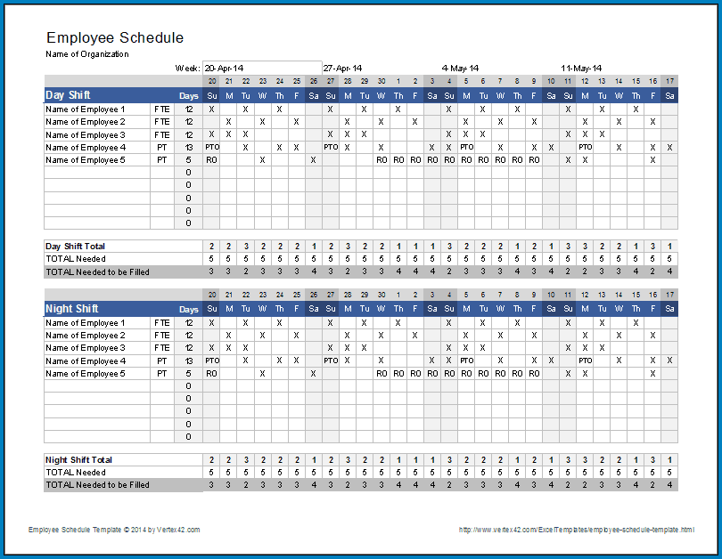 Example of Monthly Employee Schedule Template