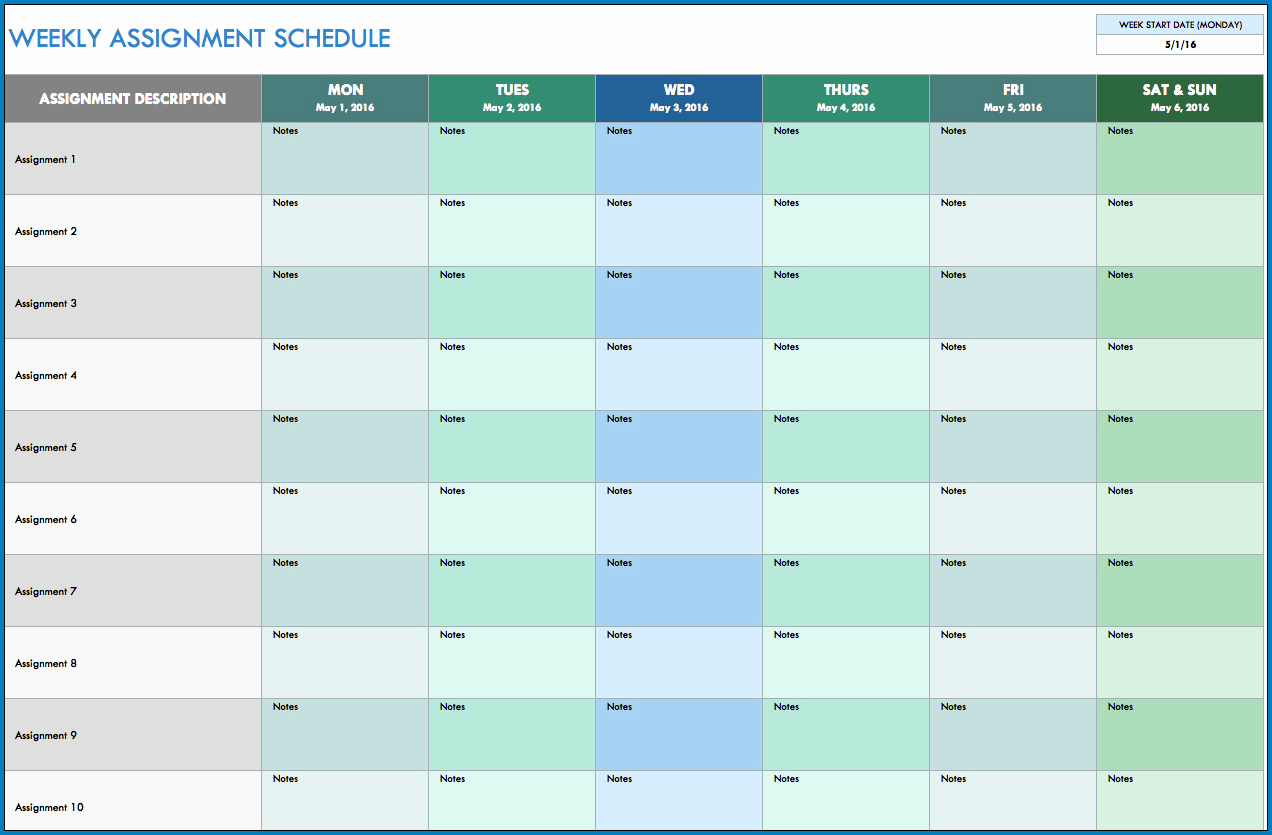 Example of Monthly Schedule Template Excel