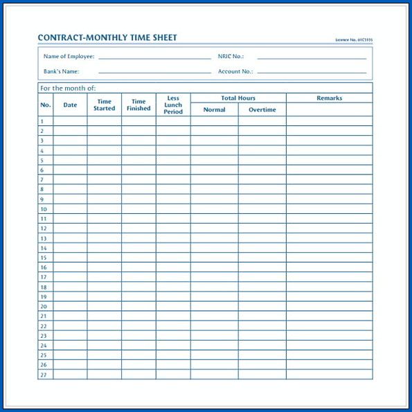 Example of Monthly Timesheet Template