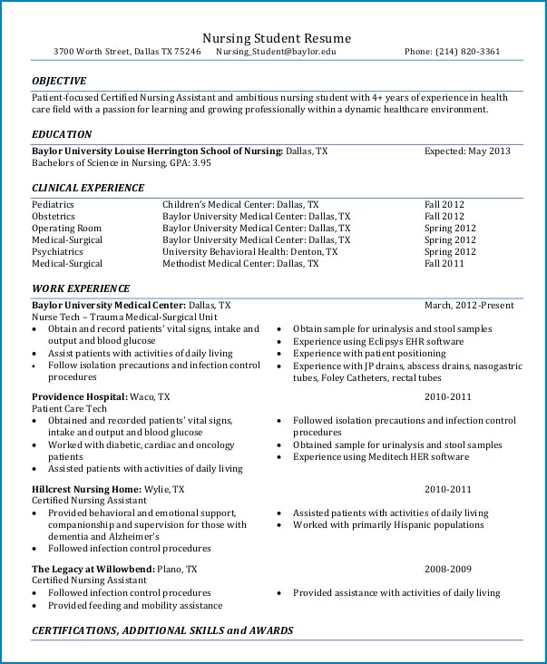 Example of New Grad Nursing Resume Template