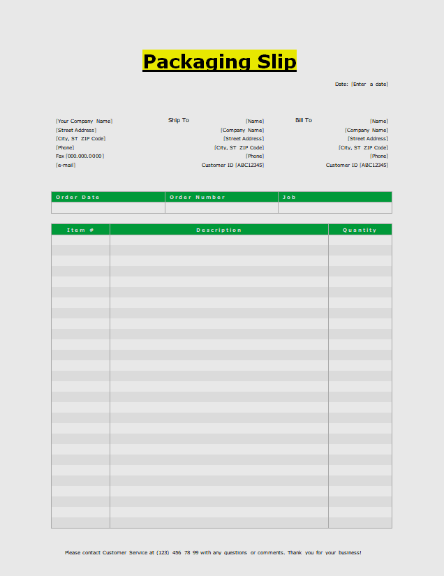 Example of Packing Slip Template