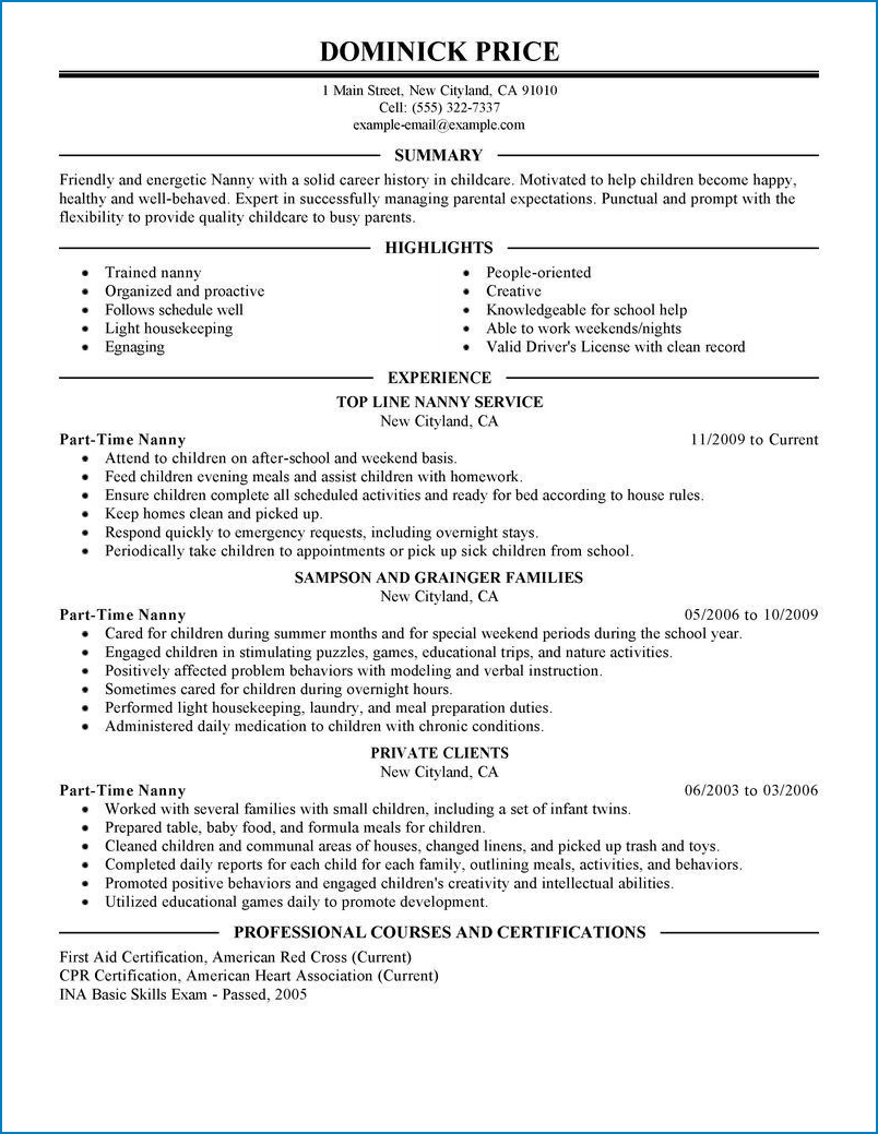 Example of Part Time Job Resume Template