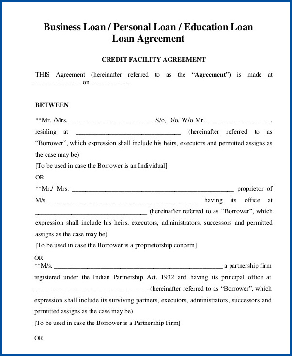 Example of Personal Loan Agreement Template