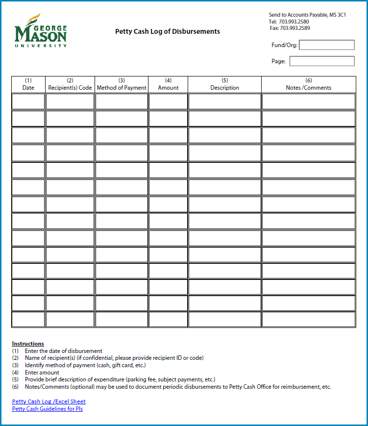 Example of Petty Cash Log Template