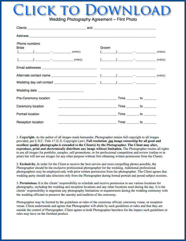 Example of Photography Contract For Wedding