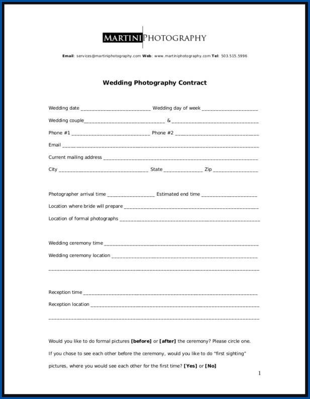 Example of Photography Contract Template
