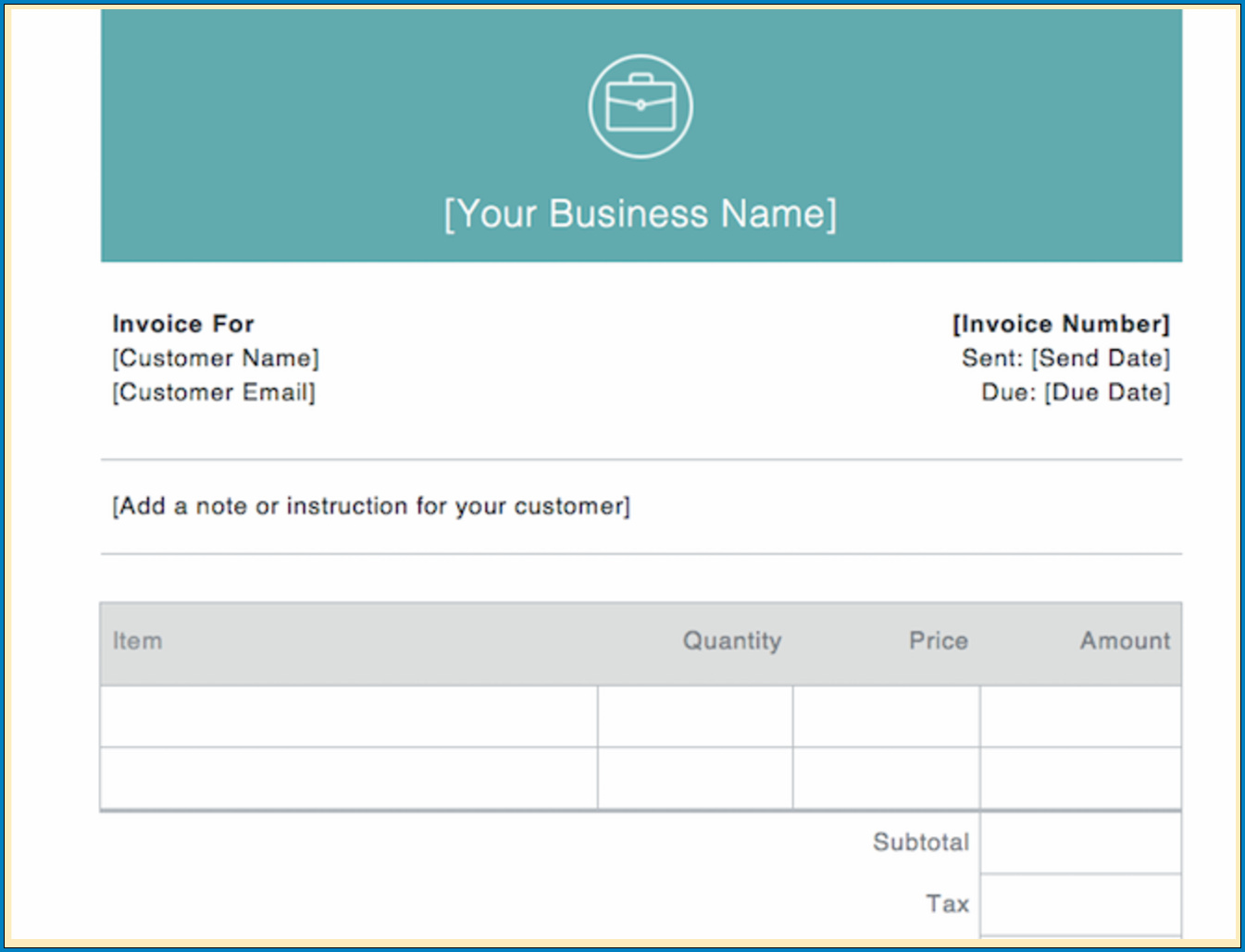 Example of Professional Invoice Template