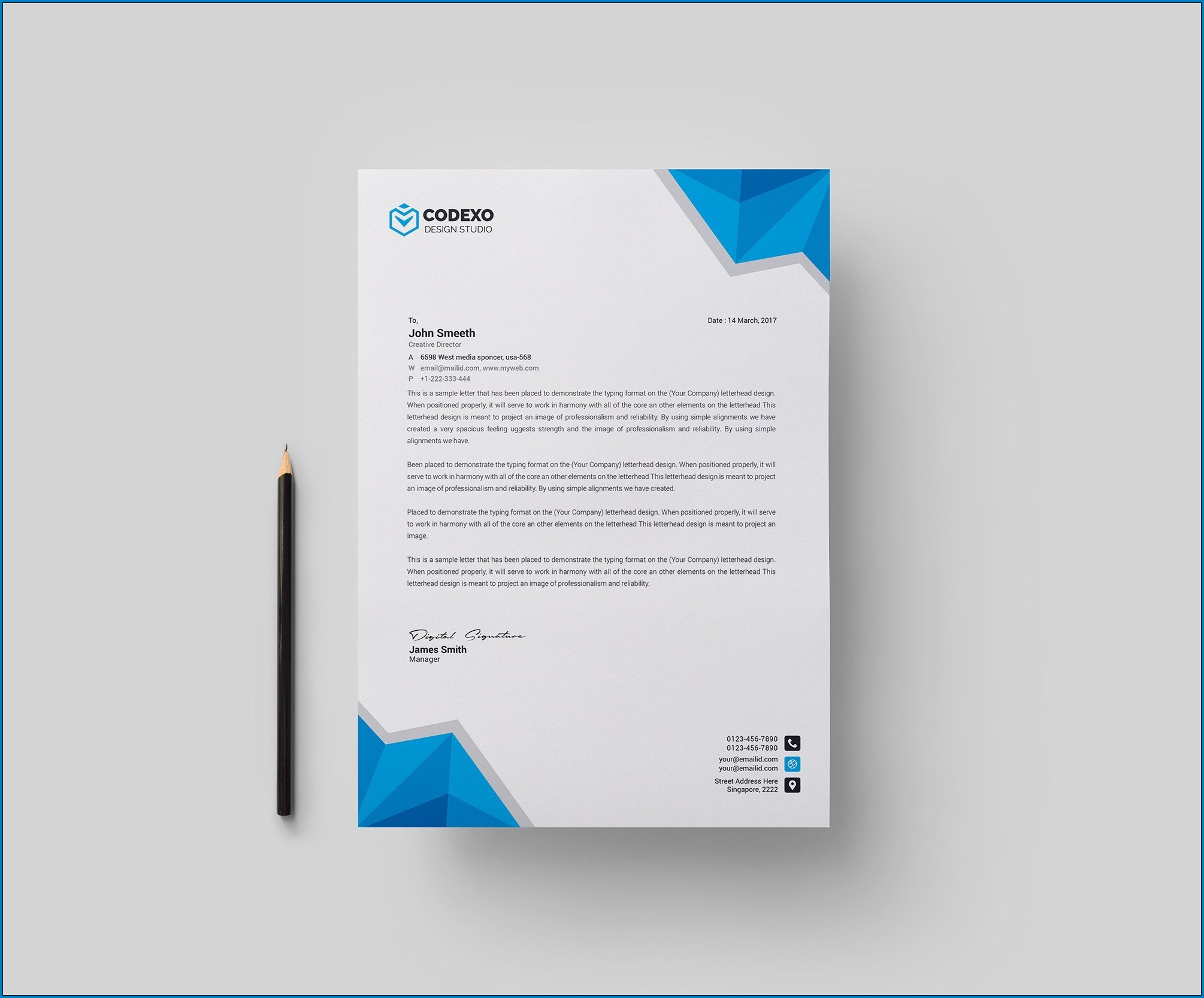 Example of Professional Letterhead Template