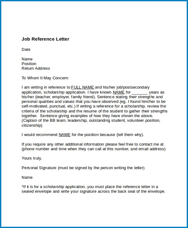 Example of Professional Reference Letter Template