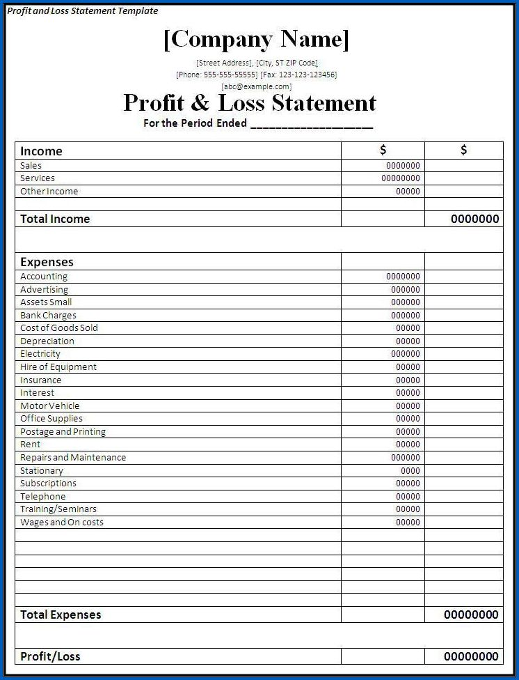 Example of Profit And Loss Account Format