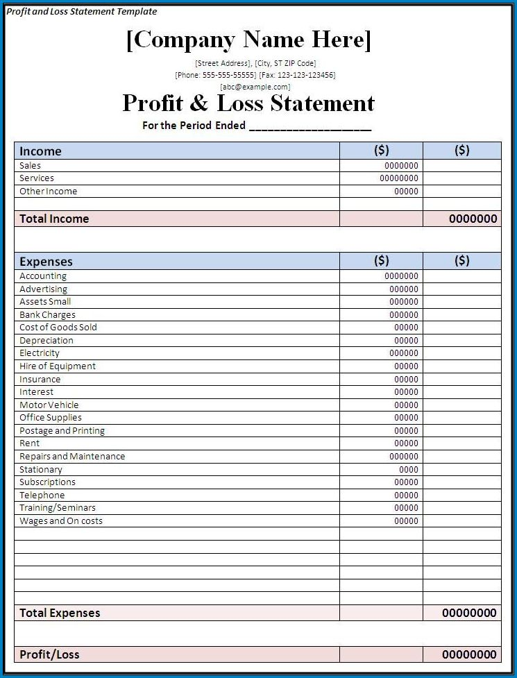 Example of Profit And Loss Report Template