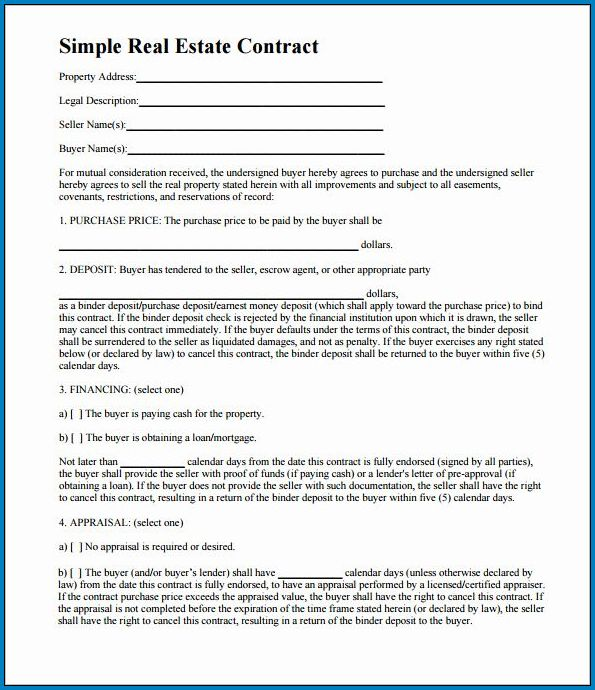 Example of Real Estate Contract Template