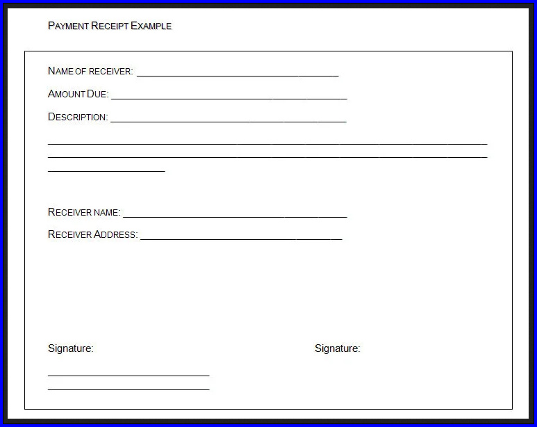 Example of Receipt Of Payment Template