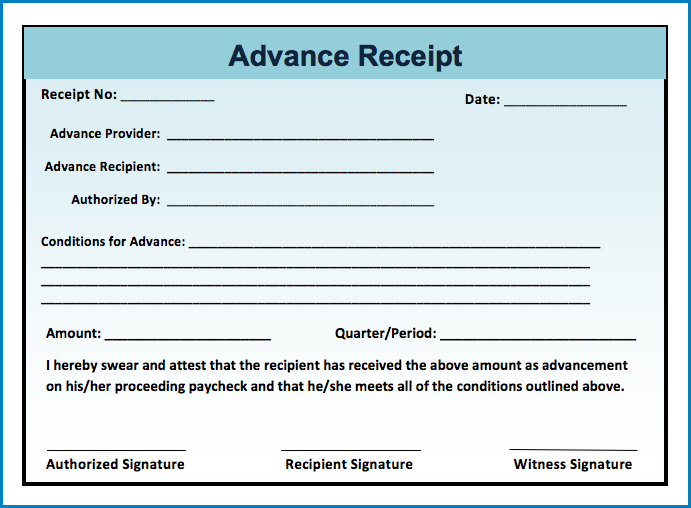 Example of Receipt Template Word