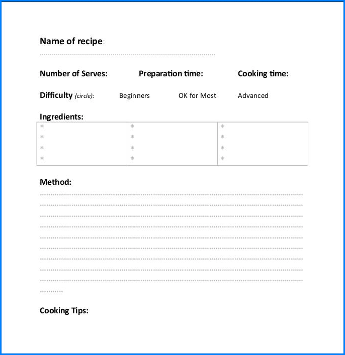 Example of Recipe Template For Word