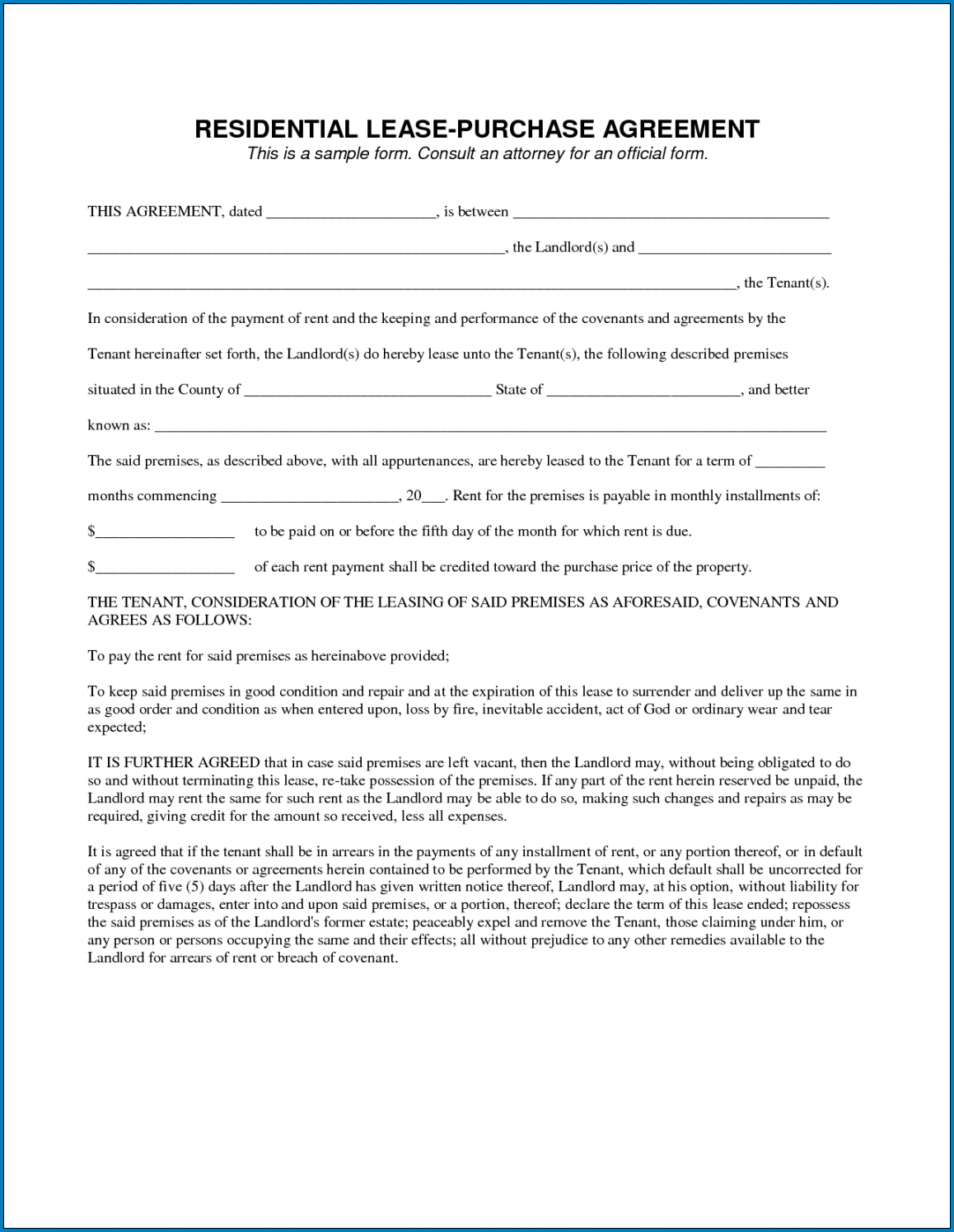 Example of Rent To Own Contract Forms For Houses