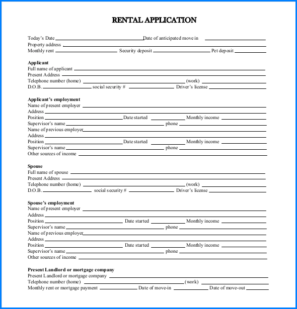 Example of Rental Application Form