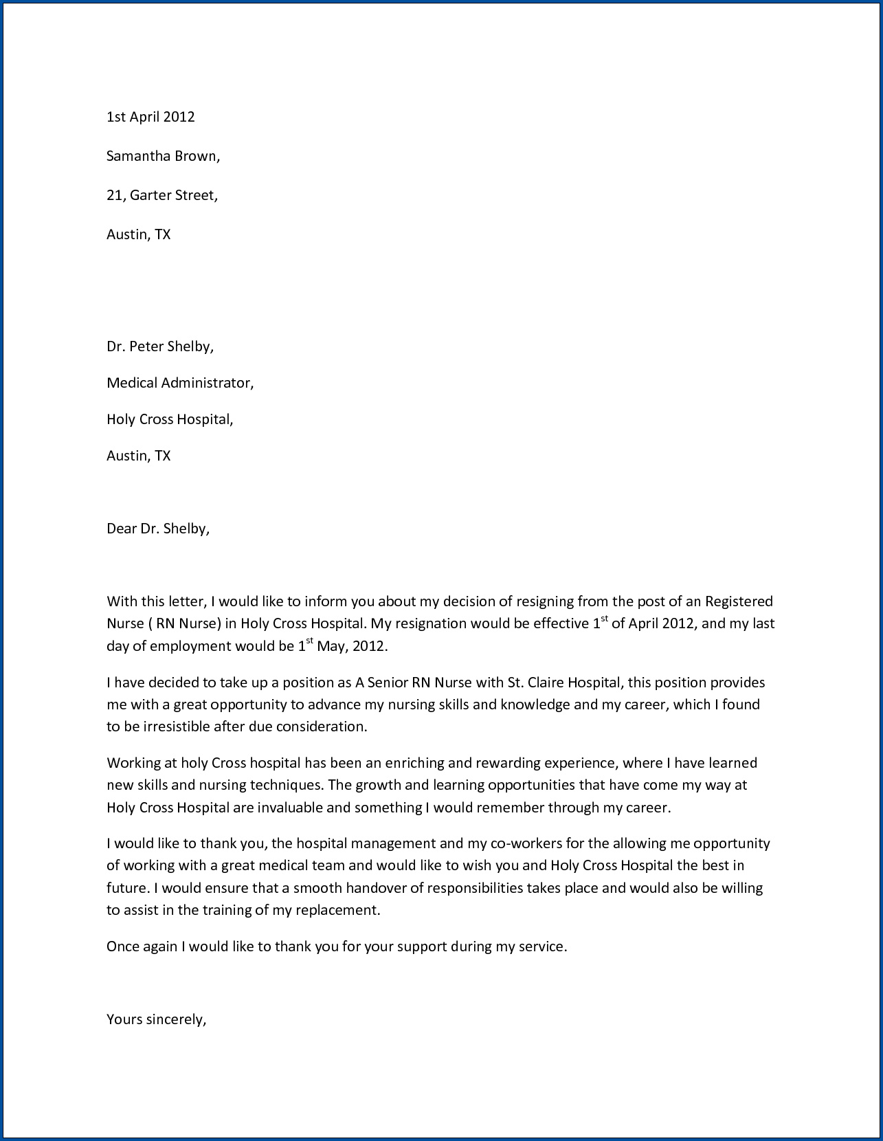 Example of Resignation Letter For Nurses