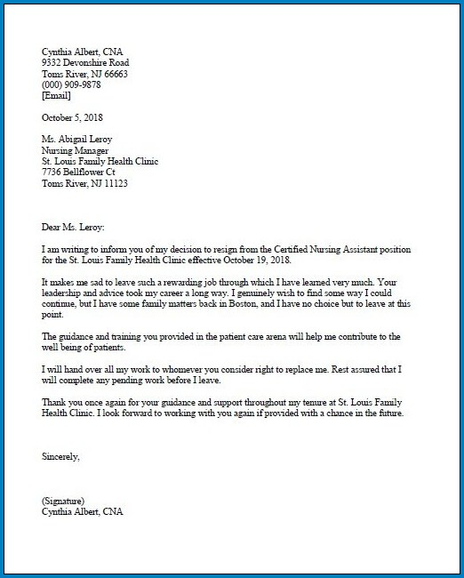 Example of Resignation Letter Of Job