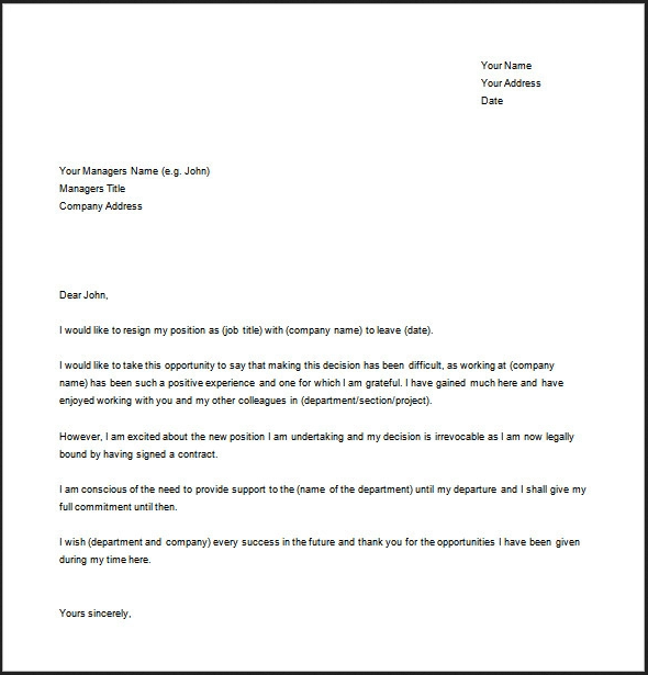 Example of Resignation Letter Template Word