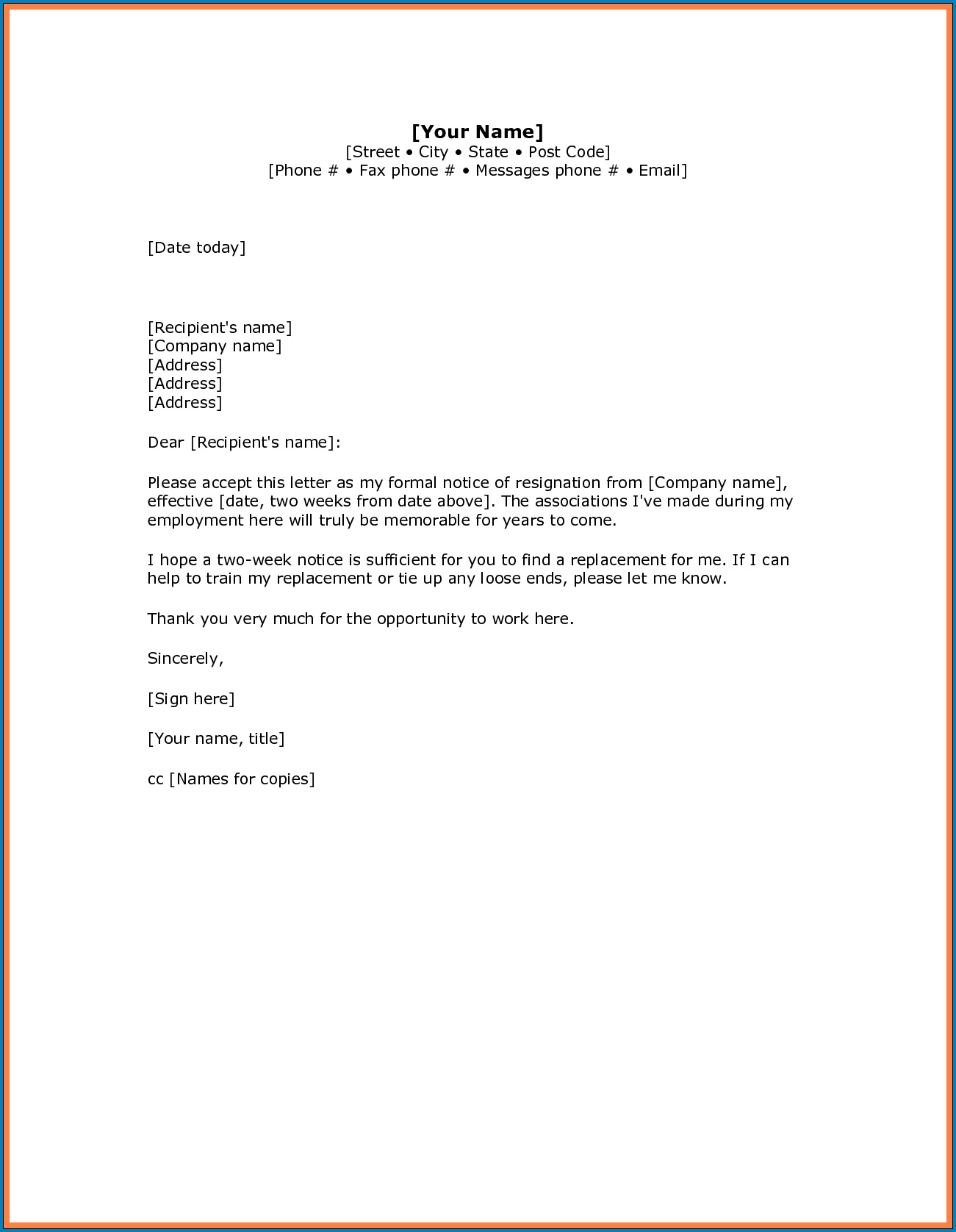 Example of Resignation Letter With Notice