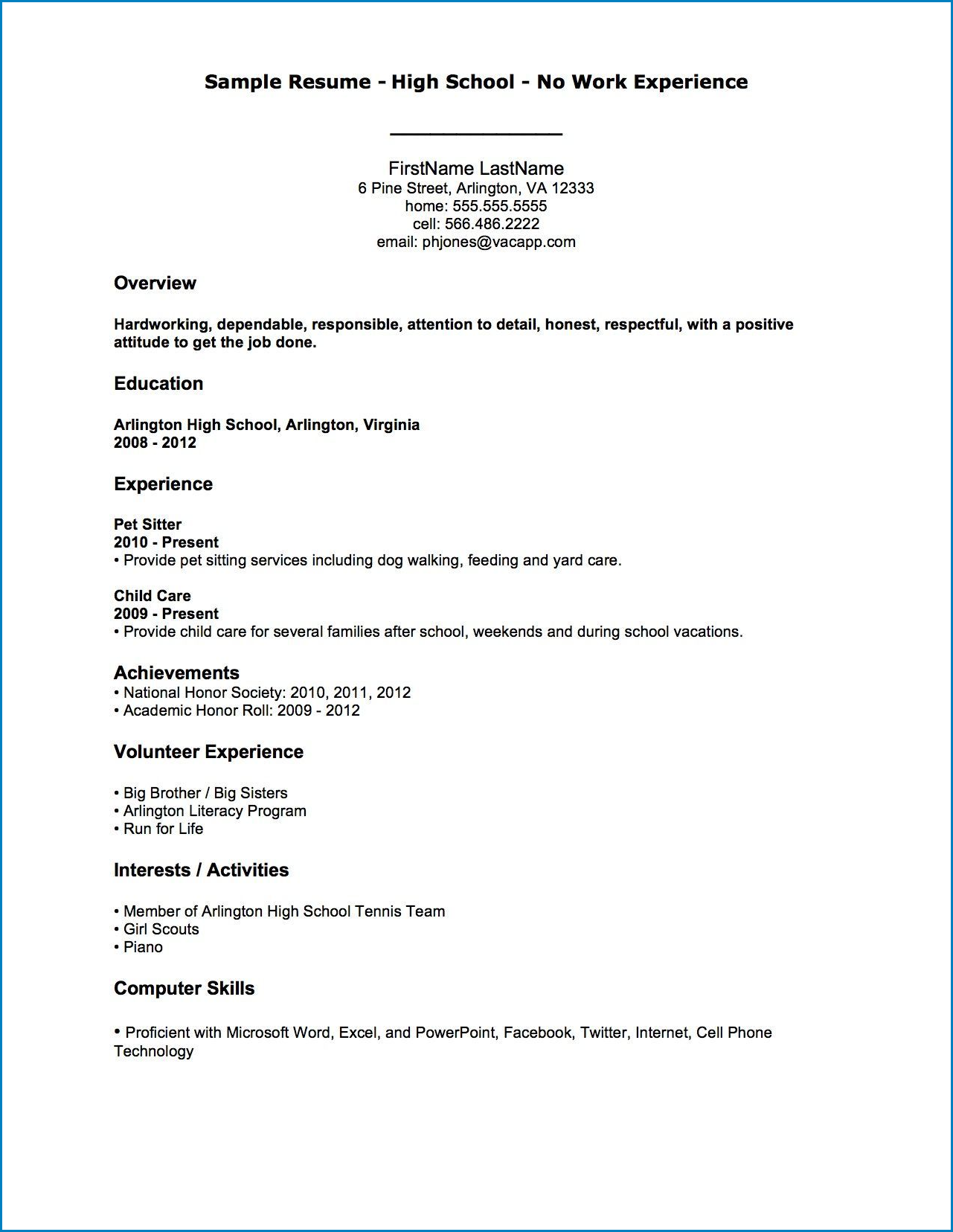 Example of Resume With No Work Experience Template