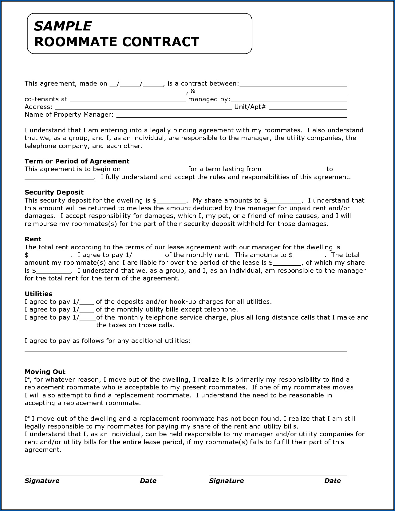Example of Roommate Agreements Template