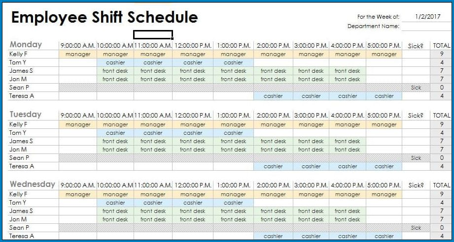 Example of Rotating Shift Schedule Template