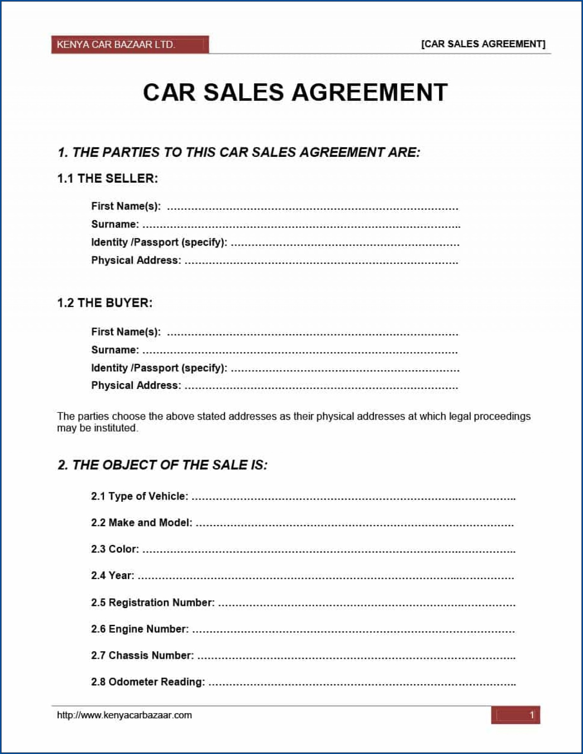 Example of Sales Contract For Car