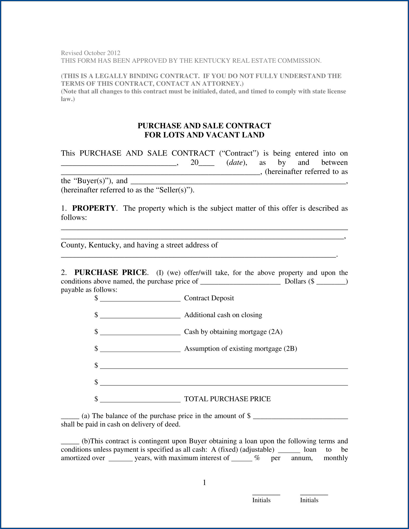Example of Sales Contract Template