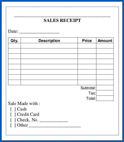Example of Sales Receipt Template