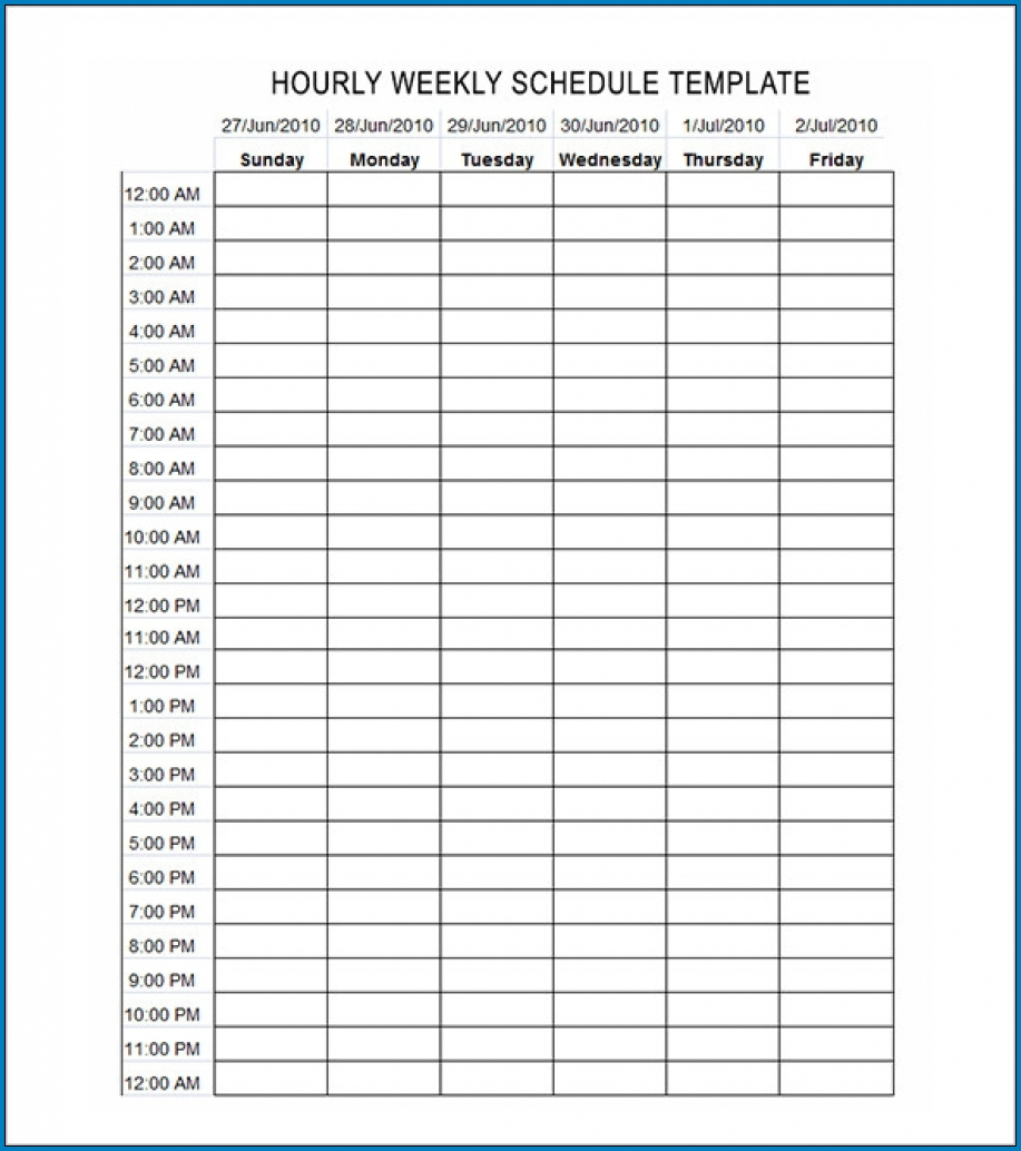 Example of Schedule Template Hourly