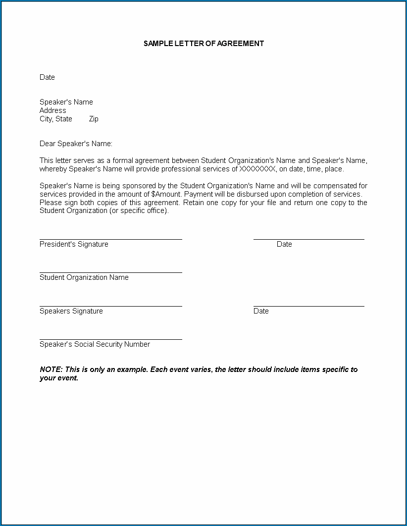 Example of Service Agreement Letter Template