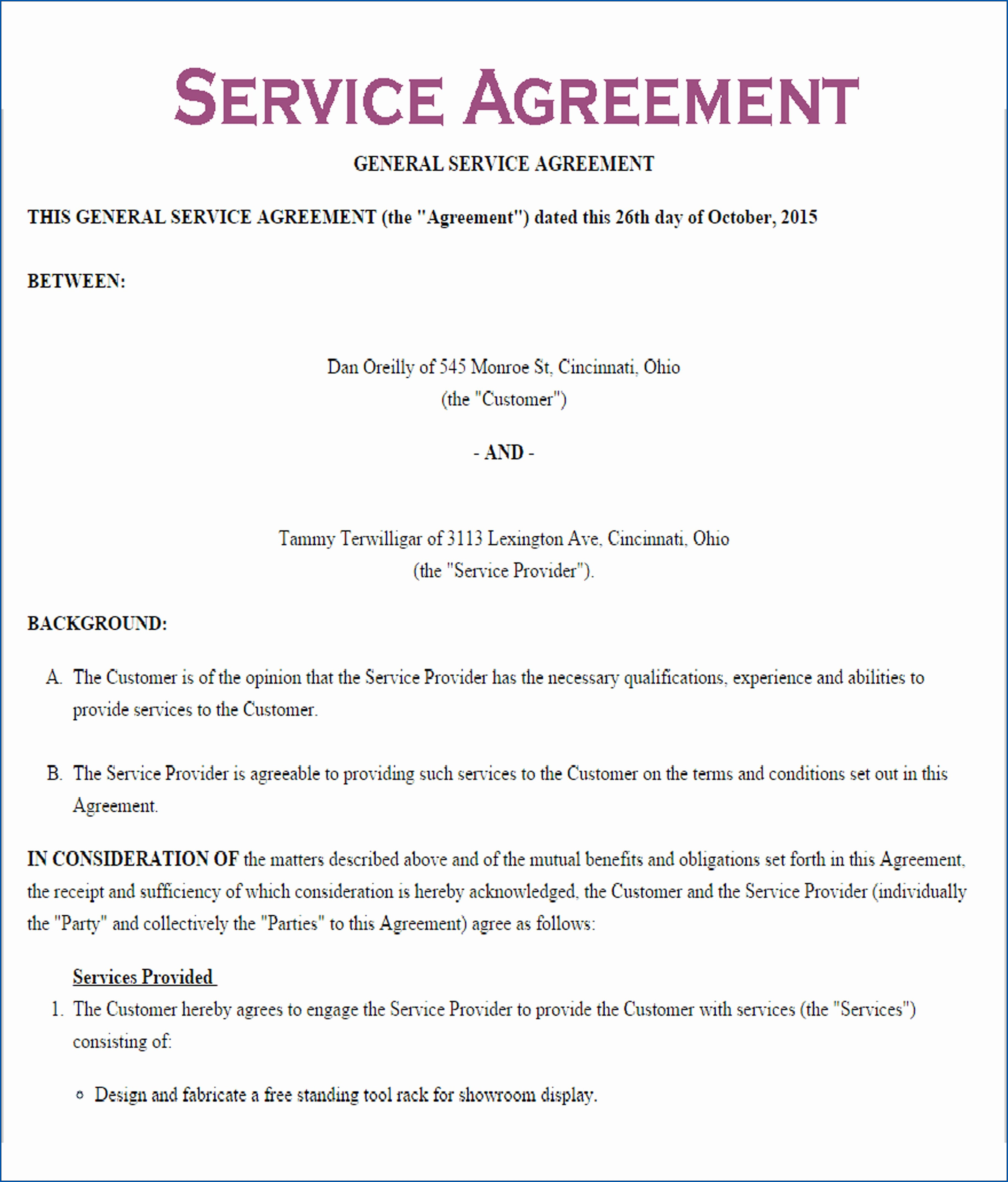 Free Editable Service Contract Template Templateral