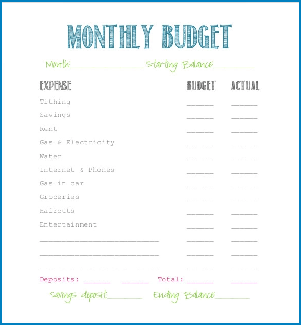 Example of Simple Budget Template