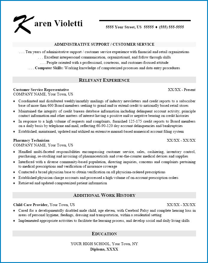 Example of Skill Based Resume Template