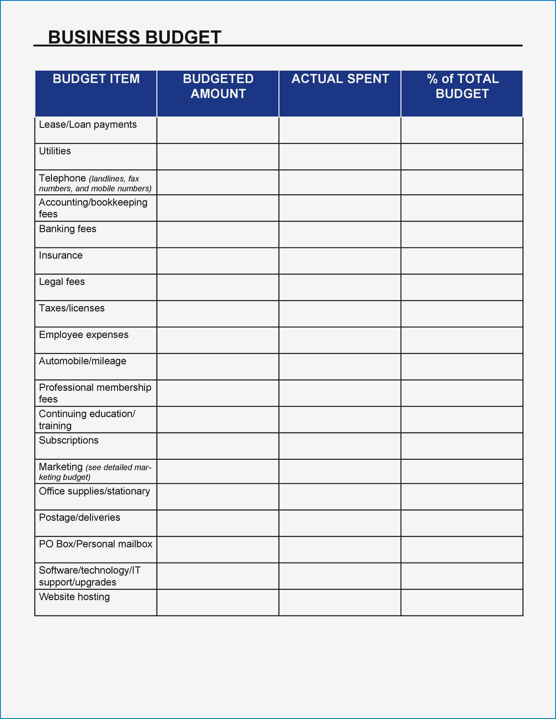 Example of Small Business Budget Template