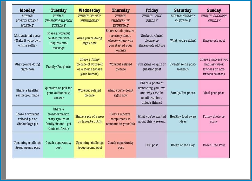 Example of Social Media Post Schedule Template