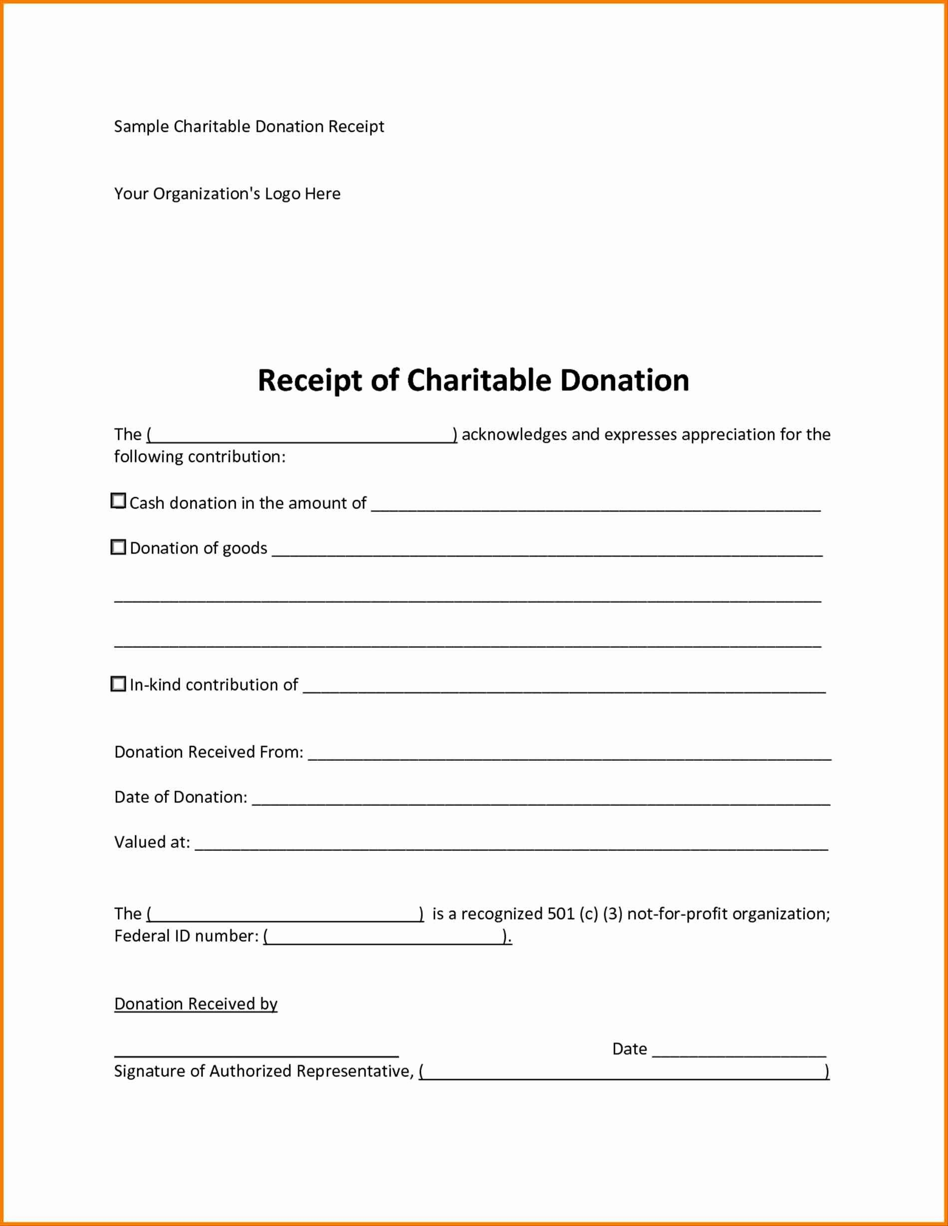 Example of Tax Receipt For Donation