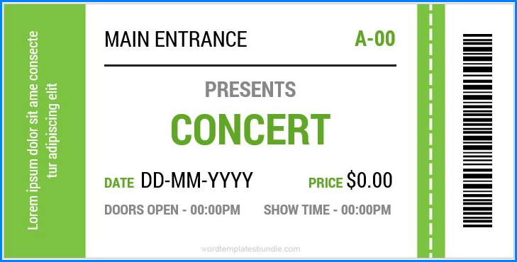 It's just a graphic of Concert Ticket Template Free Printable for downloadable