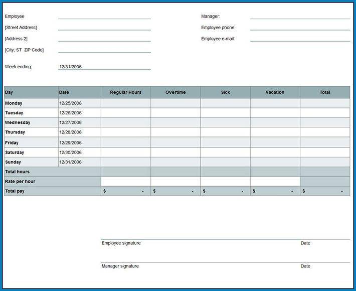 Example of Timesheet Template Excel